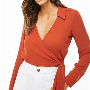 NWOT Forever 21 Women's wrap tie blouse